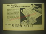 1958 Westminster Bank Ad - No doubts about this statement