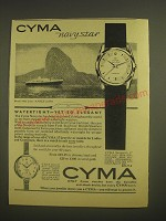 1958 Cyma Navystar Watch Ad - Cyma Navystar Royal Mail Lines Andes at Rio