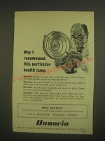 1958 Hanovia Quality Health Lamp Ad - Why I recommend this particular lamp