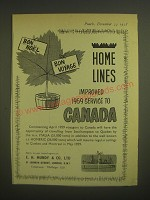 1958 Home Lines Cruise Ad - Bon Noel Bon Voyage Home Lines Improved