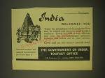 1958 India Tourism Ad - India welcomes you