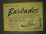 1958 Barbados Tourism Ad - World's finest bathing purest water no malaria