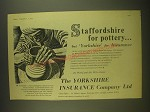 1955 Yorkshire Insurance Ad - Staffordshire for pottery