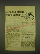 1955 Kellogg's All-Bran Cereal Ad - Off-the-track motorist re-fuels and wins