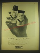 1963 Yardley Deodorant for Men Ad - One isn't right for you: one is perfect.