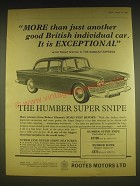 1963 Rootes Humber Super Snipe Car Ad - More than just another good British Car