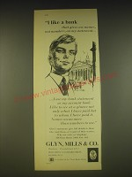 1963 Glyn, Mills & Co. Ad - I like a bank that gives me names, not numbers