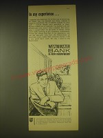 1963 Westminster Bank Ad - In my experience