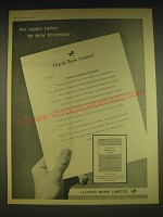 1963 Lloyds Bank Ad - An open letter to any investor