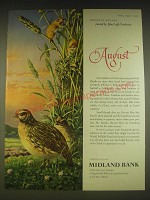 1963 Midland Bank Ad - Quails and Harvest Mice - John Leigh Pemberton