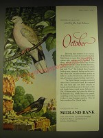 1963 Midland Bank Ad - Collared Dove and Black Redstart - John Leigh Pemberton
