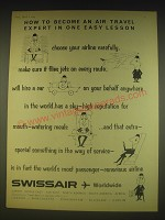 1963 Swissair Airline Ad - How to become an air travel expert in one easy lesson