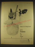 1963 Pimms Liqueur Ad - men in disguises give Pimms in all sizes