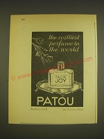1963 Patou Eau de Joy Perfume Ad - The costliest perfume in the world