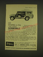 1963 Land-Rover Dormobile Ad - Go roving in the Land-Rover Dormobile Caravan