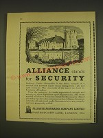 1963 Alliance Assurance Ad - Stokesay Castle - Alliance stands for Security