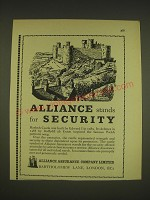 1963 Alliance Assurance Ad - Harlech Castle - Alliance stands for Security