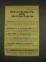 1963 American Express Ad - Pick a trip any trip with American Express