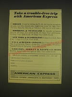 1963 American Express Ad - Take a trouble-free treip with American Express