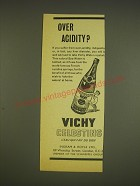 1963 Vichy Celestins Water Ad - Over Acidity?