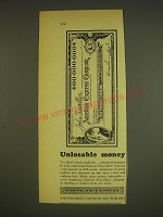 1963 American Express Travellers' Cheques Ad - Unlosable money