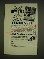 1963 Tennessee Tourism Ad - Colorful new free vacation guide to Tennessee