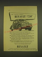 1955 Renault 750 Car Ad - The Penny-a-mile Renault 750