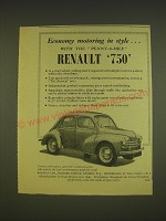 1955 Renault 750 Car Ad - Economy motoring in style