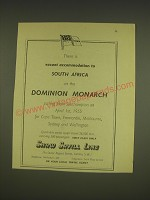 1955 Shaw Savill Line Ad - There is vacant accomodation to South Africa