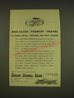 1955 Shaw Savill Line Ad - One-class tourist travel to South Africa, Australia