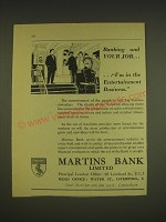1955 Martins Bank Ad - Banking and your job ..I'm in the Entertainment business
