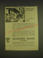 1955 Martins Bank Ad - Banking and your job.. I'm in food