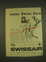 1955 Swissair Airline Advertisement - Enjoy Swiss Care Winter Sports!