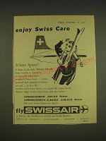 1955 Swissair Airline Ad - Enjoy Swiss Care Winter Sports!
