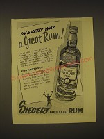 1955 Siegert Gold Label Rum Ad - In every way a great rum