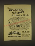1955 Angostura Aromatic Bitters Ad - Angostura adds zest to foods & drinks