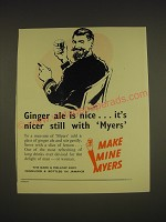 1955 Myers Rum Ad - Ginger ale is nice.. It's nicer still with Myers