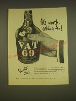 1955 Vat 69 Scotch Ad - It's worth asking for