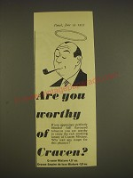 1955 Craven Mixture Tobacco Ad - Are you worthy of Craven?