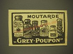 1933 Grey Poupon Mustard Ad - in French - Moutarde Grey-Poupon