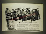 1934 Palmolive Shaving Cream Ad - In French - Rapidite! Facilite! Douceur!