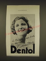 1936 Dentol Toothpaste Ad - in French - featuring Helene Darly