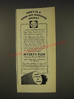 1937 Myer's Rum Ad - recipe for Egg Nog - Here's to a good old fashioned Holiday