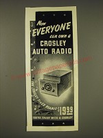 1937 Crosley Auto Radio Ad - Now everyone can own a Crosley Auto Radio