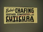 1937 Cuticura Soap and Ointment Ad - Baby's chafing soothed, comforted