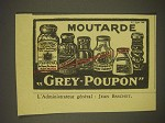 1938 Grey-Poupon Mustard Ad - in French - Moutarde Grey-Poupon