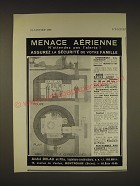 1939 Andre Delaue et Fils Bomb Shelter Ad - in French - Menace Aerienne
