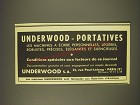 1939 Underwood Typewriters Ad - in French - Underwood - Portatives les machines