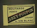 1939 Grey-Poupon Mustard Ad - in French - Moutarde forte Grey-Poupon a dijon au