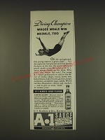 1939 A.1. Sauce Ad - Diving champion whose meals win medals, too